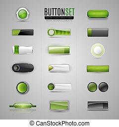 ensemble, infographic., toile, boutons, vecteur, vert, app