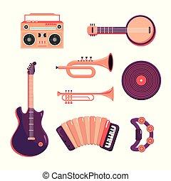 ensemble, instruments, bande, professionnel, musique, enregistreur
