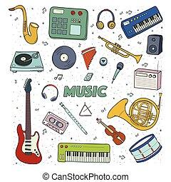 ensemble, instruments., illustration., coloré, musical