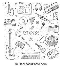 ensemble, instruments., illustration., contour, divers, musical