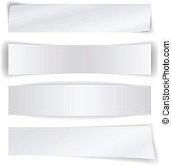 ensemble, isolé, arrière-plan., papier, vide, bannières, blanc