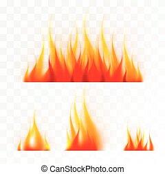 ensemble, isolé, flammes