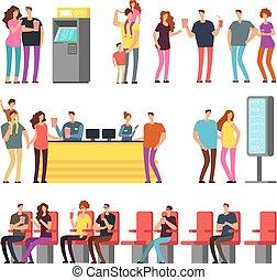ensemble, isolé, gens, film, jeune, theater., couples, vecteur, caractères, 3d, dessin animé, heureux