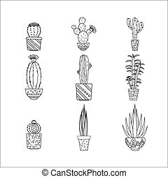 ensemble, isolé, illustration, arrière-plan., vecteur, blanc, cactus