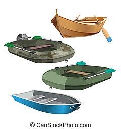 ensemble, isolé, illustration, réaliste, vecteur, bateaux, blanc