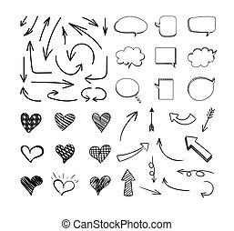 ensemble, isolé, lines., fond, sketchy, vecteur, conception, noir, blanc, éléments