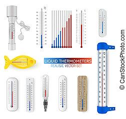 ensemble, isolé, réaliste, vecteur, thermomètre, blanc