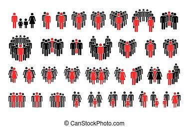ensemble, isolé, rouges, silhouettes, différent, souligner, personne blanche, important
