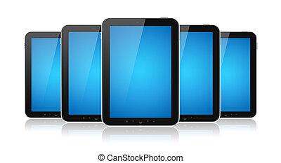 ensemble, isolé, tablette, ordinateurs