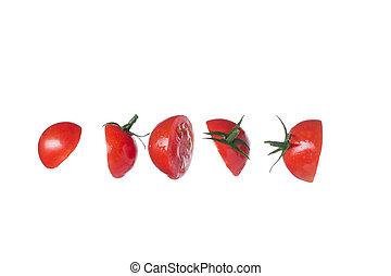 ensemble, isolé, tomates, fond, blanc rouge