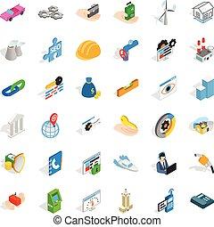 ensemble, isométrique, adress, style, icônes