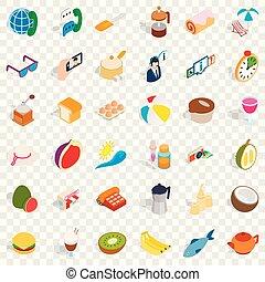 ensemble, isométrique, fruit, style, icônes