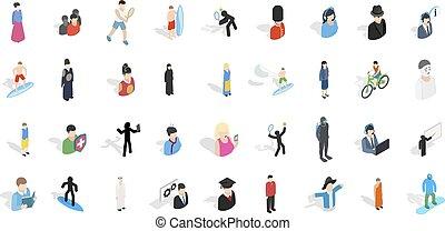 ensemble, isométrique, gens, style, icône