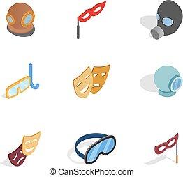 ensemble, isométrique, masque, style, icône