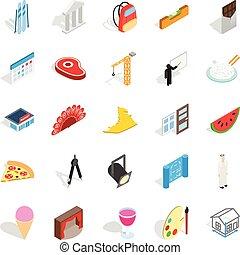 ensemble, isométrique, style, entreprise, icônes