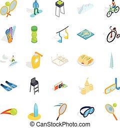 ensemble, isométrique, style, pari, icônes