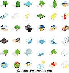 ensemble, isométrique, style, vent, icônes