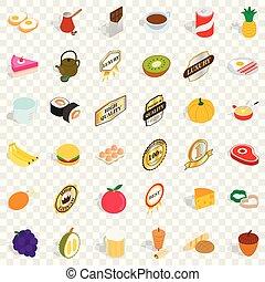 ensemble, isométrique, sushi, style, icônes