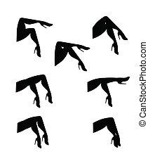 ensemble, jambes, silhouette, womans
