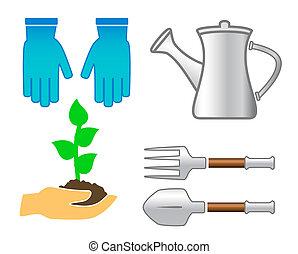 ensemble, jardin, coloré, ustensile, -, outils