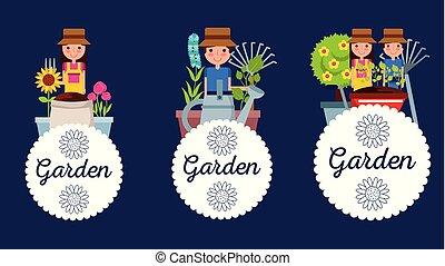 ensemble, jardin, gens, étiquette, décoration, fleurs, outils