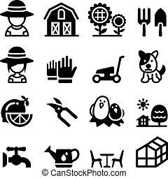 ensemble, jardin, icône