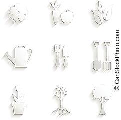 ensemble, jardin, icône, nature