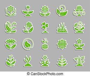 ensemble, jardin, icônes, autocollant, pièce, vecteur