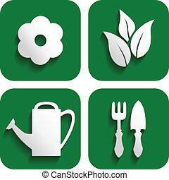 ensemble, jardin, icônes
