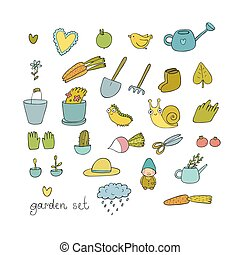 ensemble, jardin, légumes, insects., pots, gardening., usines, objects., outils