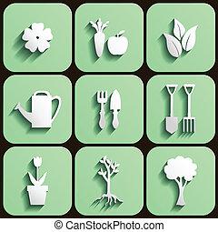 ensemble, jardin, nature, icône