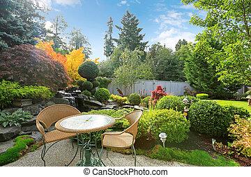 ensemble, jardin, osier, exotique, table, maison