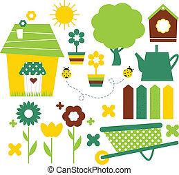 ensemble, jardin, printemps, isolé, village, blanc