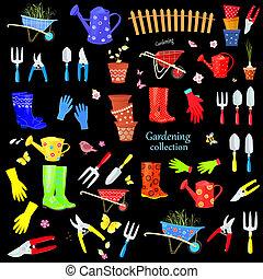 ensemble, jardinage, coloré, grand, dos, equipments, noir, outils