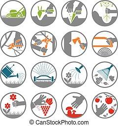 ensemble, jardinage, gardening., pictogramme, tools., présentation, icône
