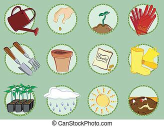 ensemble, jardinage, icône