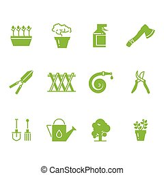 ensemble, jardinage, icônes, accessoires, vert, outils