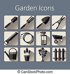 ensemble, jardinage, icônes, sur, b, argent