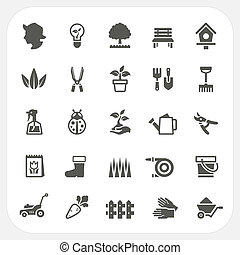 ensemble, jardinage, icônes