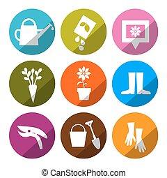 ensemble, jardinage, icônes, -, vecteur, outils