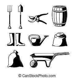 ensemble, jardinage, isolé, arrière-plan., blanc, agriculture, outils