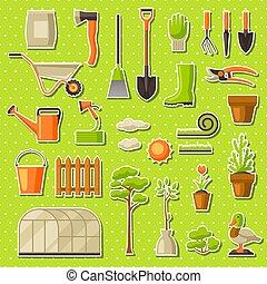 ensemble, jardinage, jardin, saison, items., illustration, outils