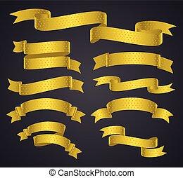 ensemble, jaune, bannière courbe, ou, ruban