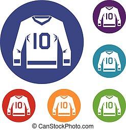 ensemble, jersey hockey, icônes