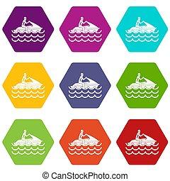 ensemble, jet, couleur, promenades, hexahedron, icône, ski, homme