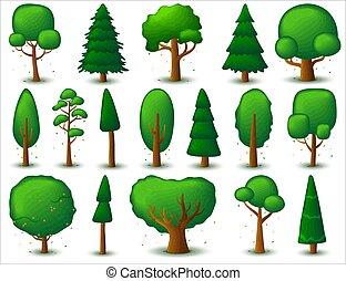 ensemble, jeu, vecteur, flat., stylisé, ou, cartes, grand, ui, à feuilles caduques, arbre conifère, jeux, logo, arbres.