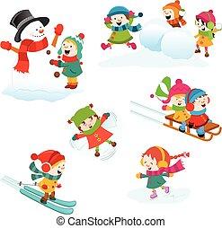 ensemble, jeux, hiver