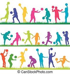 ensemble, jouer, balles, enfants