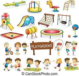 ensemble, jouer, cour de récréation, enfants