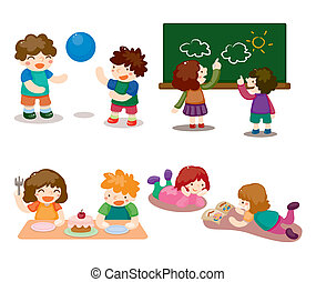 ensemble, jouer, gosse, dessin animé